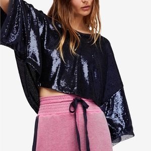 Free People Champagne Dreams Sequin Crop Top